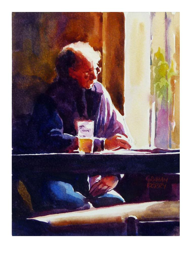 """""""Reading in the pub."""" original fine art by Graham Berry"""