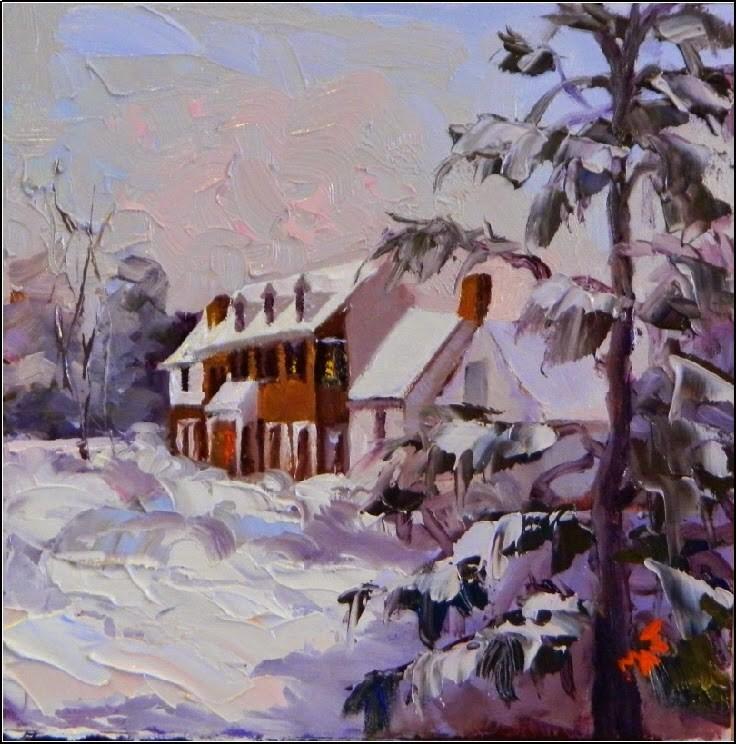 """Early Morning Snowfall, 6x6, oil on board"" original fine art by Maryanne Jacobsen"