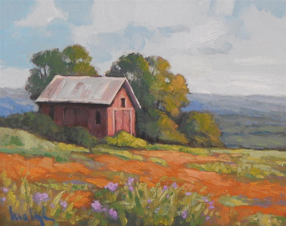 """Hillside Barn"" original fine art by Lisa Kyle"
