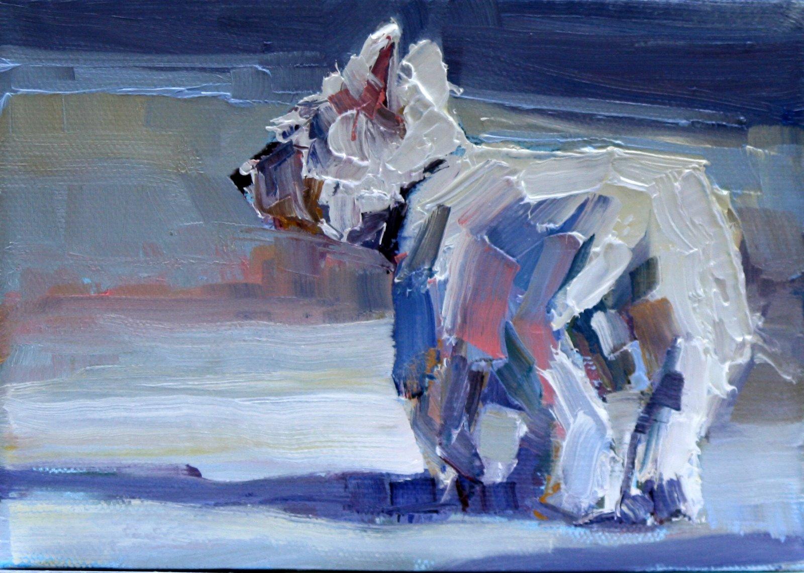 """wandering westie"" original fine art by Carol Carmichael"