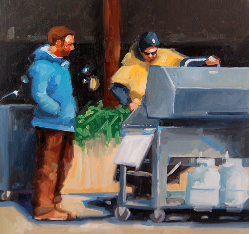 """""""No 430 Waiting for Lunch"""" original fine art by Robin J Mitchell"""