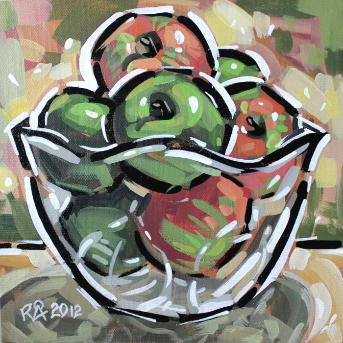 """""""Bowl with fruit 8"""" original fine art by Roger Akesson"""