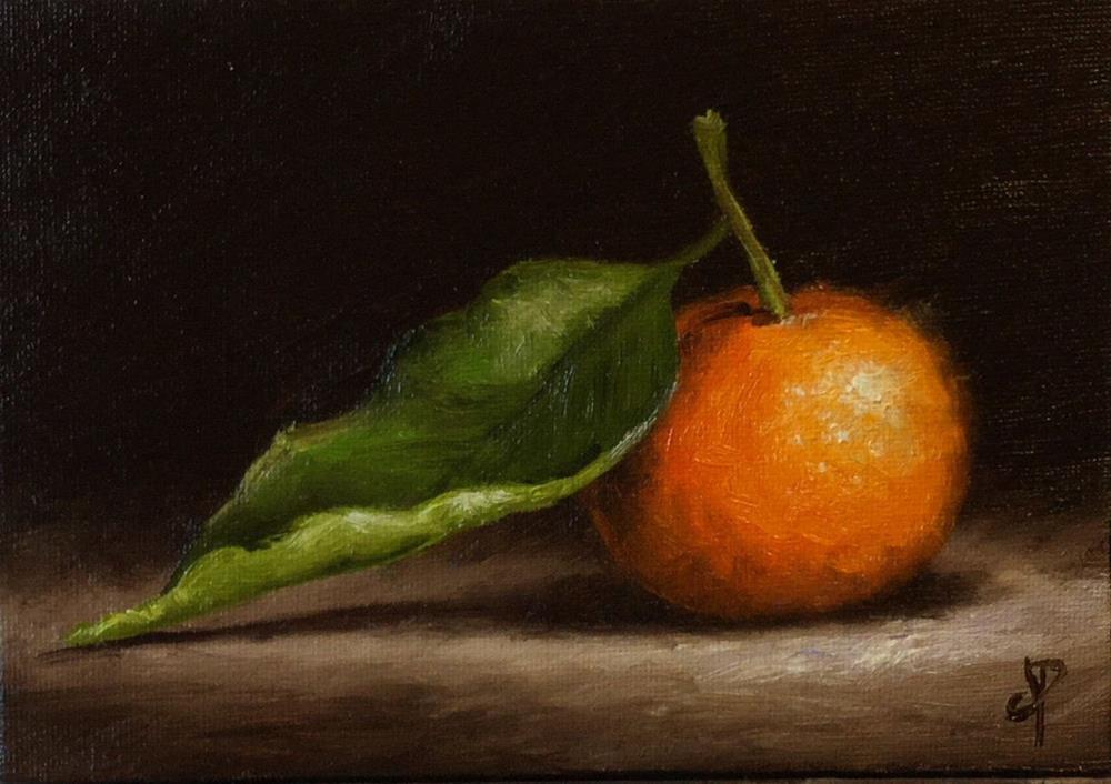 """Clementine with leaf"" original fine art by Jane Palmer"
