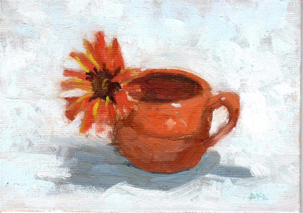 """Orange Flower in Jar"" original fine art by Marlene Lee"
