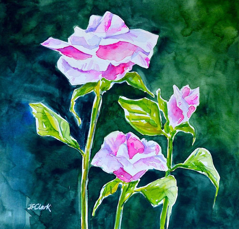 """Moonlight on Roses"" original fine art by Judith Freeman Clark"