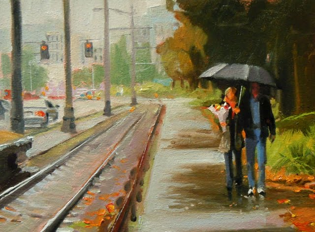 """""""Bring flowers  Seattle city scape oil painting"""" original fine art by Robin Weiss"""