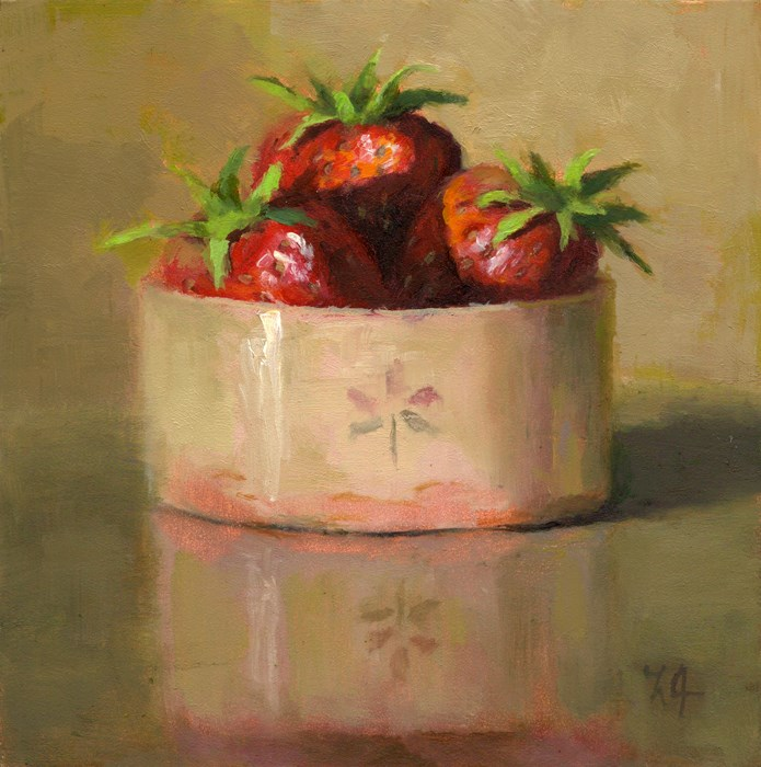 """""""Strawberries in a Cup"""" original fine art by Linda Jacobus"""