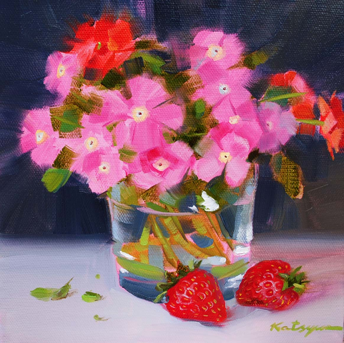 Dpw fine art friendly auctions pink flowers and strawberries by mouse over mightylinksfo