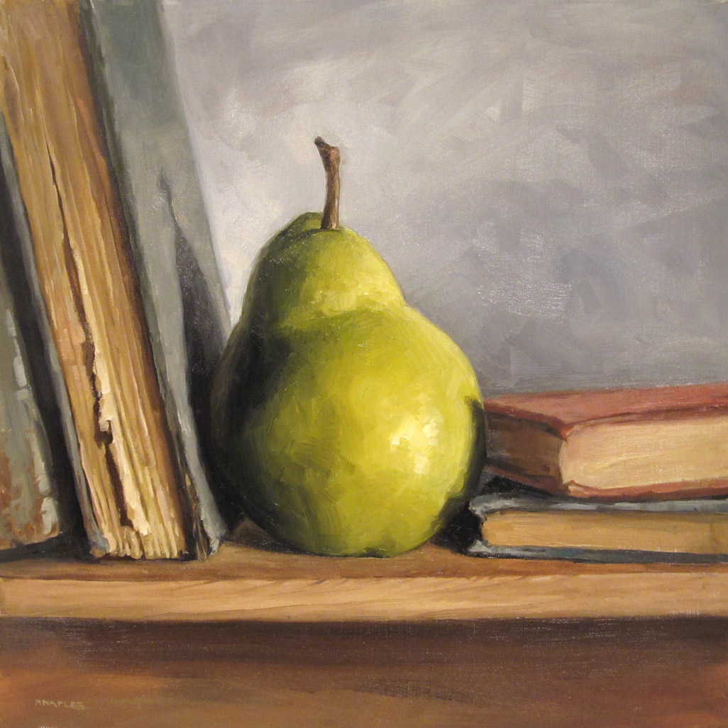 """""""Pear With Books"""" original fine art by Michael Naples"""