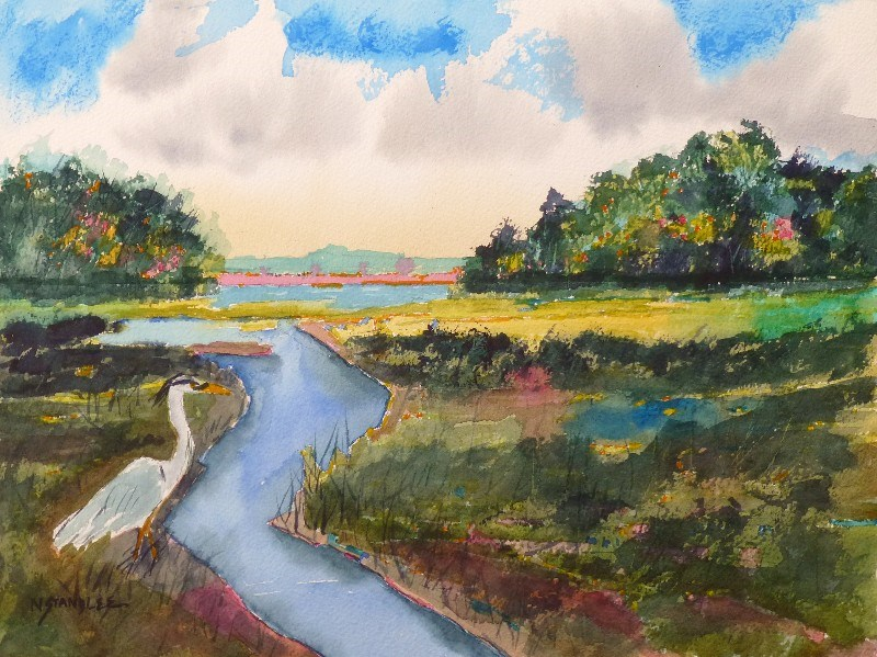 """Kanuga Heron 14013"" original fine art by Nancy Standlee"
