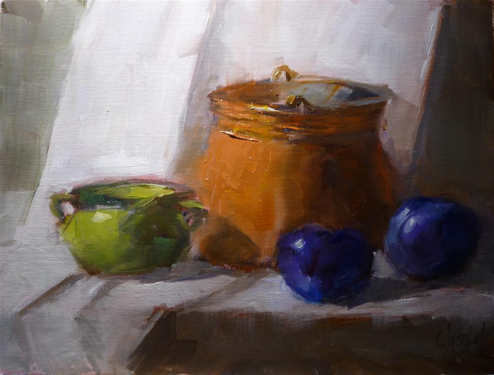 """Two plums"" original fine art by Carol Josefiak"
