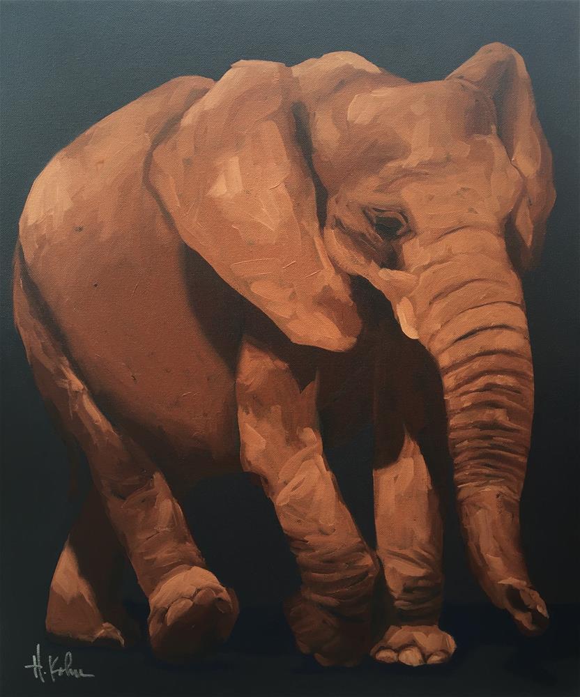 """Alizarin Elephant"" original fine art by Hallie Kohn"