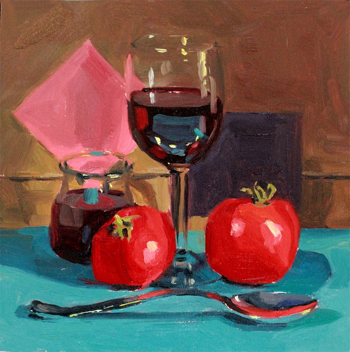 """Winey Tomatoes"" original fine art by Nealy May Riley"