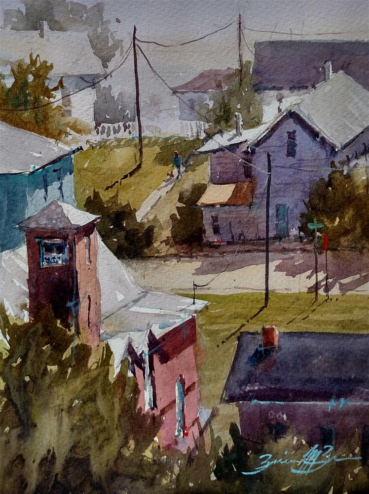 """""""Looking Down on River St"""" original fine art by Brienne M Brown"""