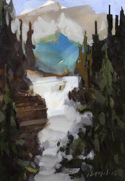 """Waterfall - Quick Study"" original fine art by David Lloyd"