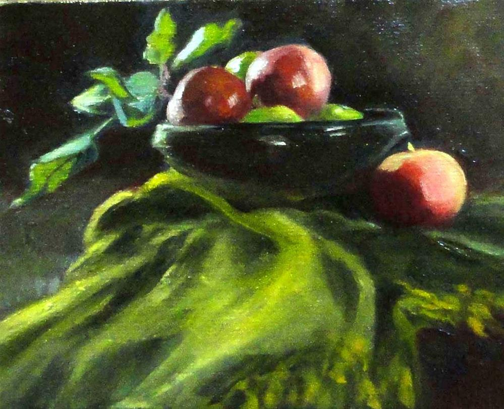 """Apples and Green Cloth"" original fine art by Cietha Wilson"
