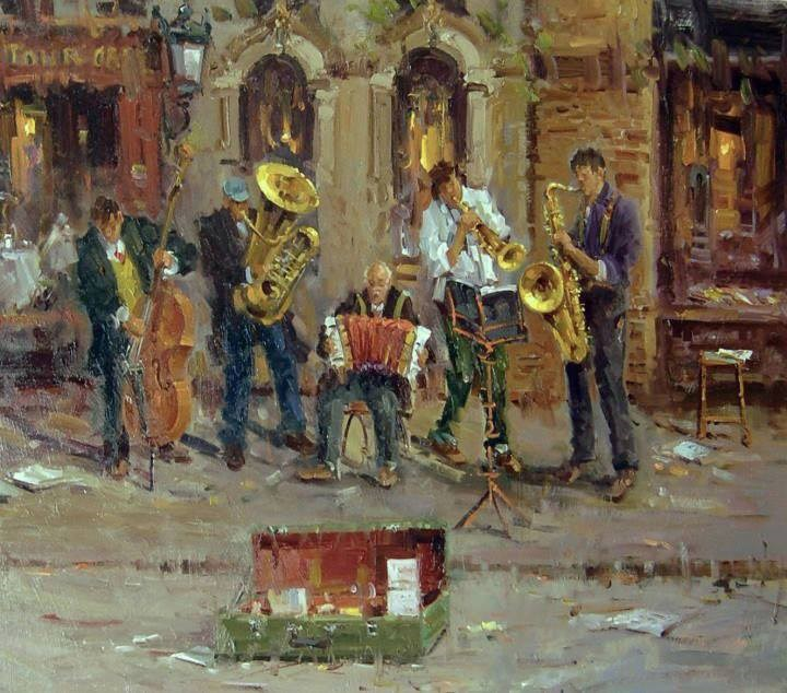 """Street Musicians(Paris)"" original fine art by Mostafa Keyhani"