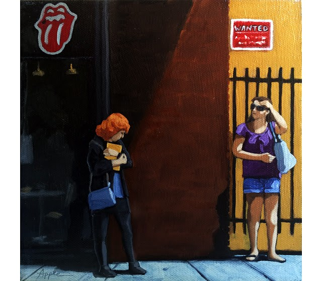 """""""SALE! Waiting for the bus - city people figurative oil painting"""" original fine art by Linda Apple"""