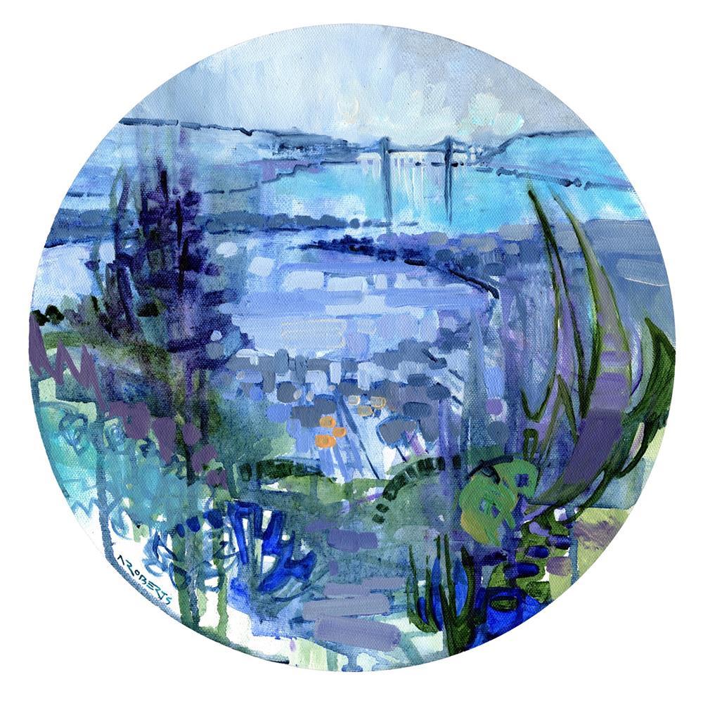"""Bay View Tondo"" original fine art by Nancy Roberts"