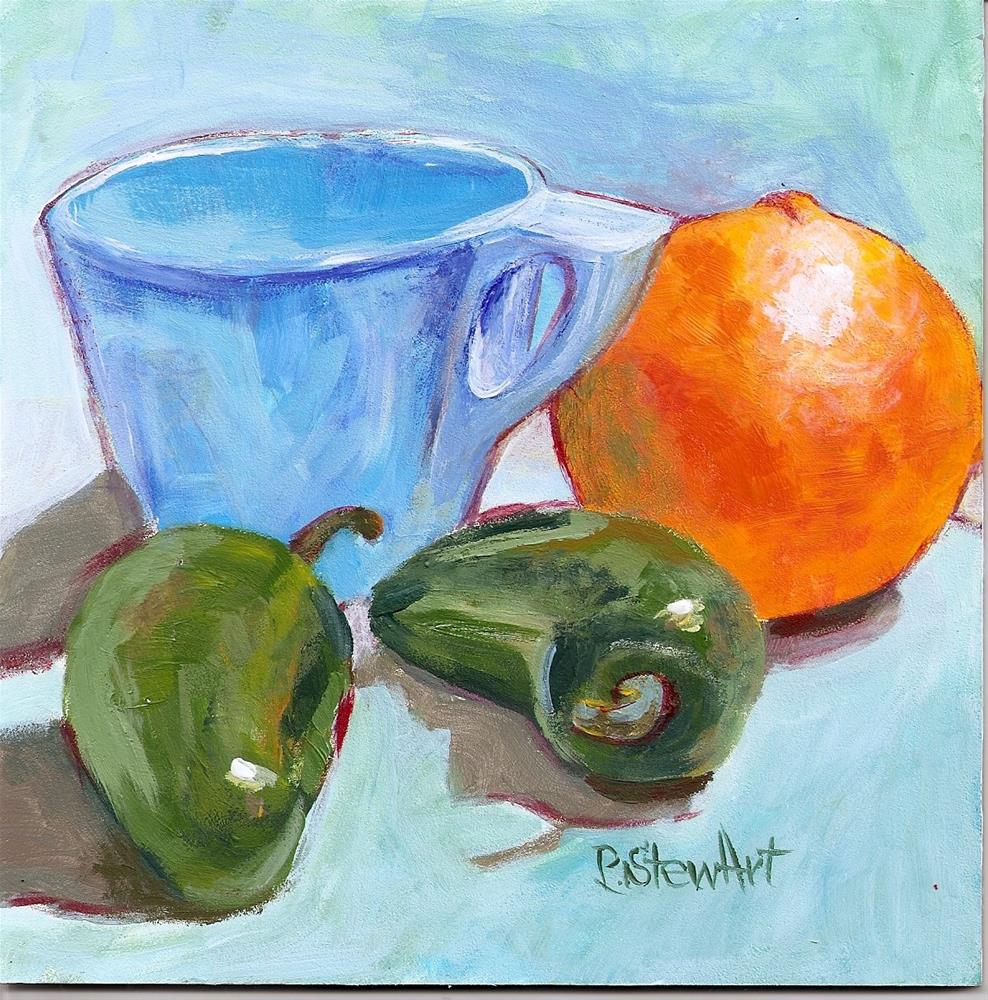 """6x6 still life Cup Orange, Chilli Peppers Acrylic Painterly Style SFA Penny Lee StewArt"" original fine art by Penny Lee StewArt"