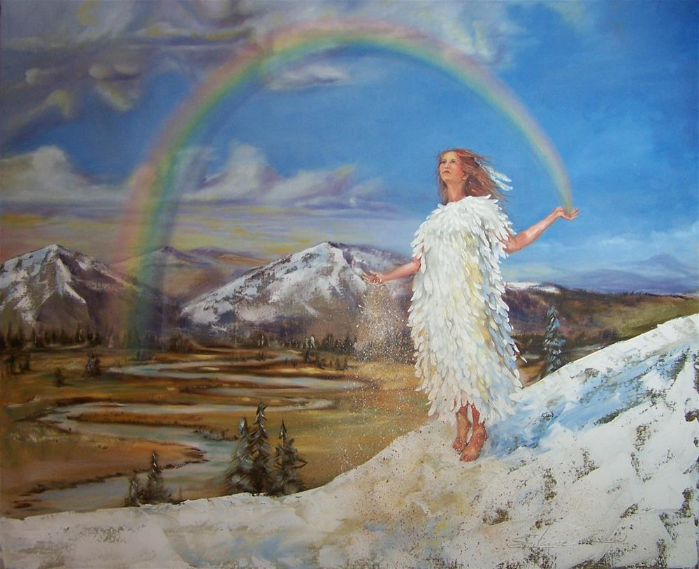 """""""Rainbow Woman: She sows the seeds of sacred dreams"""" original fine art by Elaine Evans"""