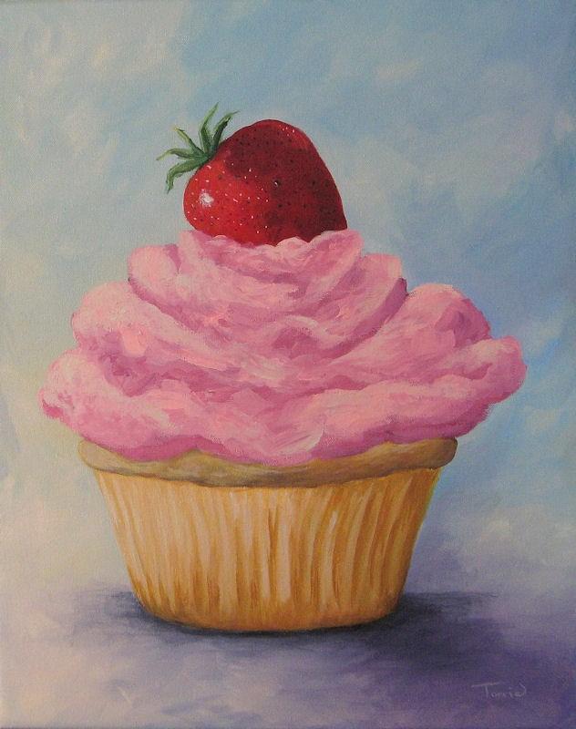 """Pink Strawberry Cupcake"" original fine art by Torrie Smiley"