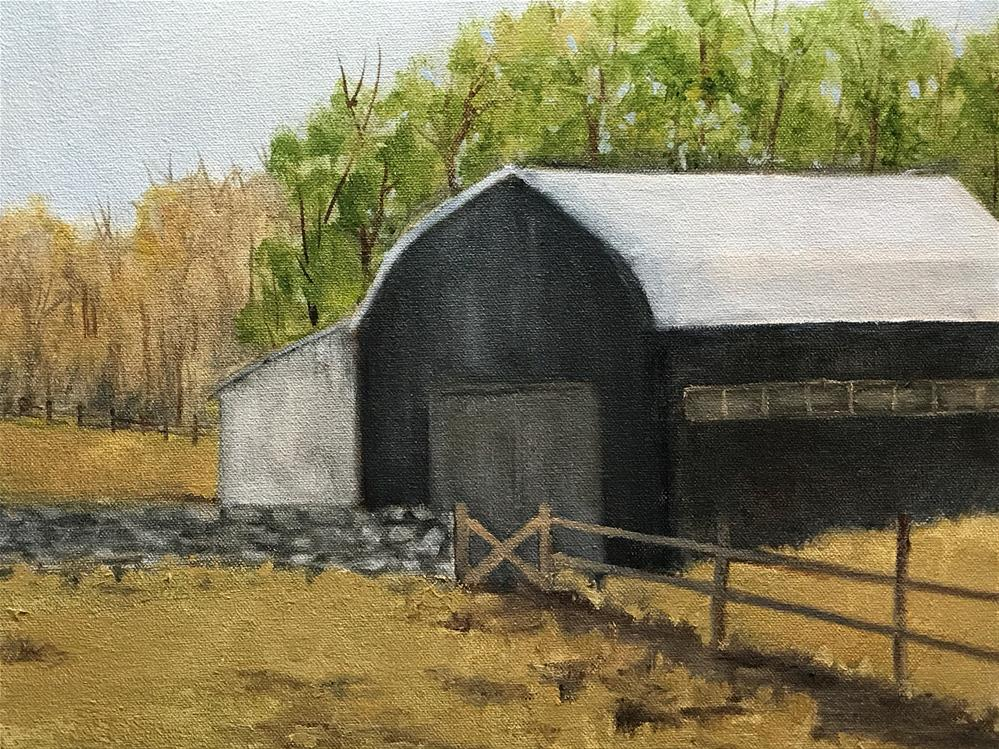"""stone wall by the barn"" original fine art by Betty Argiros"