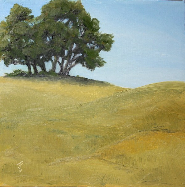 """""""Trees on the Hill"""" original fine art by Jane Frederick"""