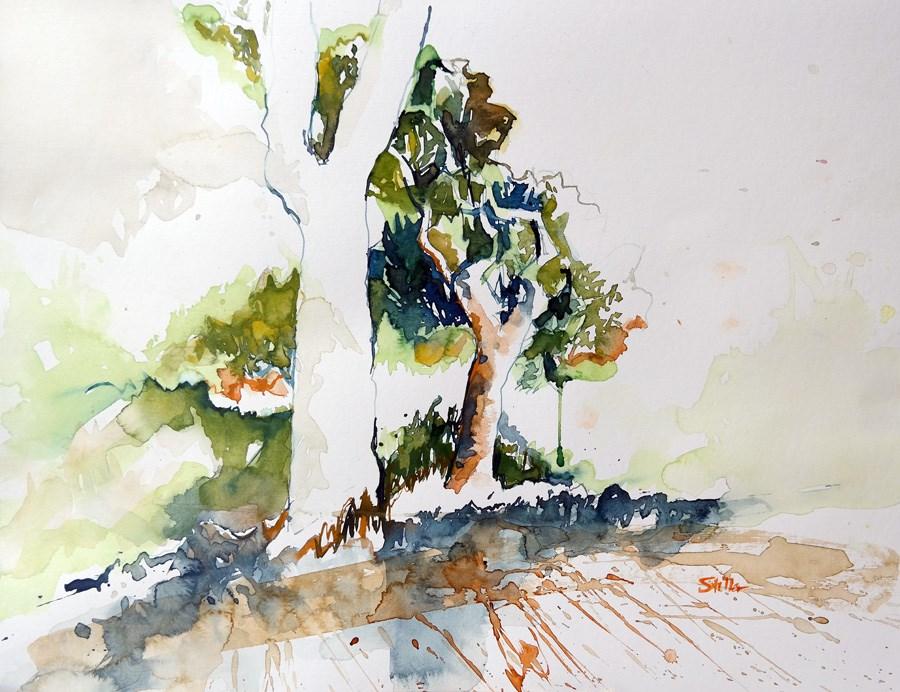 """2153 Two Oaks"" original fine art by Dietmar Stiller"