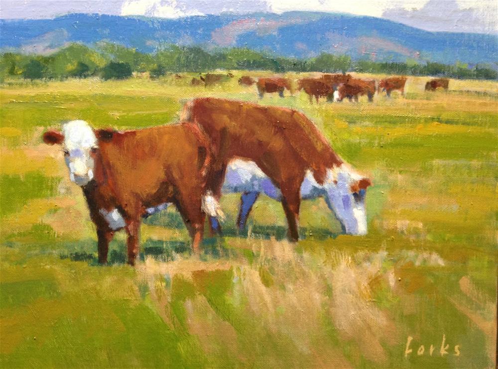 """Cattle"" original fine art by David Forks"