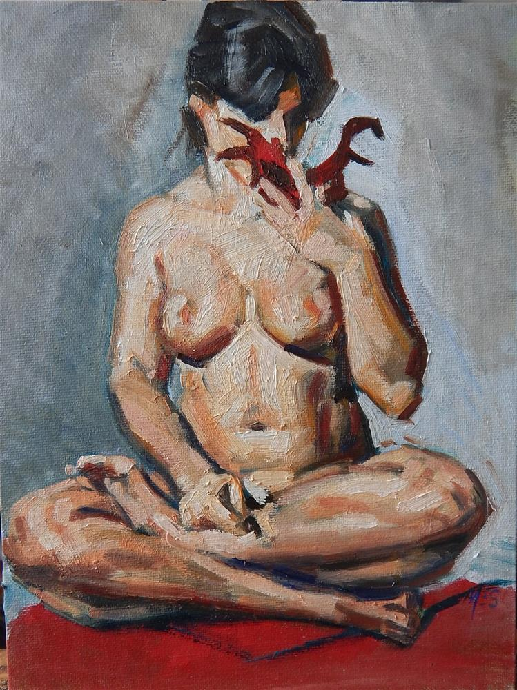 """""""Study of Model With Mask"""" original fine art by Megan Schembre"""
