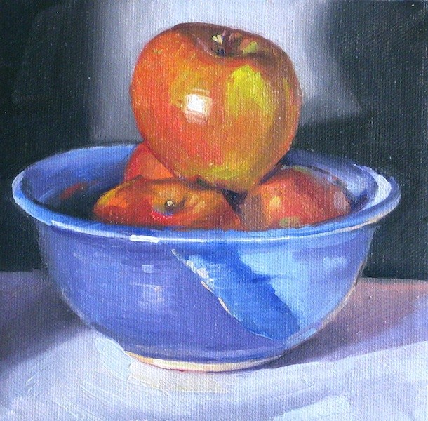 """Blue Bowl of Apples fruit kitchen art still life oil painting"" original fine art by Sarah Sedwick"