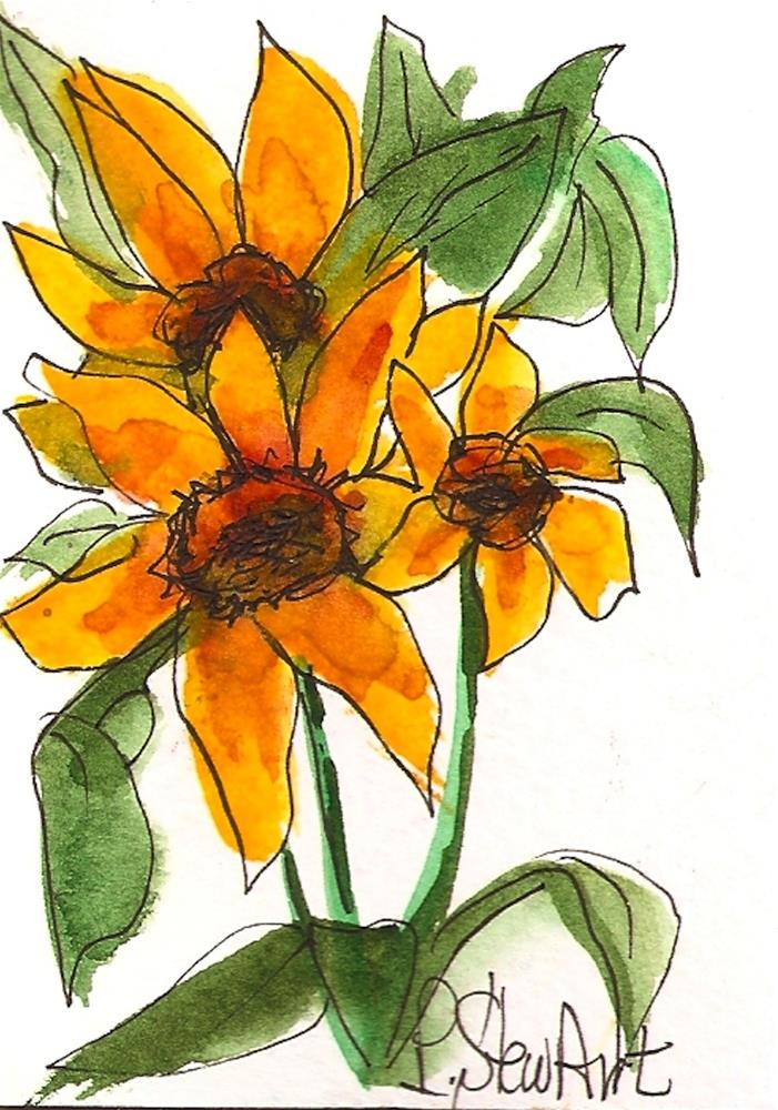 """ACEO, Three Yellow Sunflowers and Leaves Loose Watercolor Original Art OOAK"" original fine art by Penny Lee StewArt"