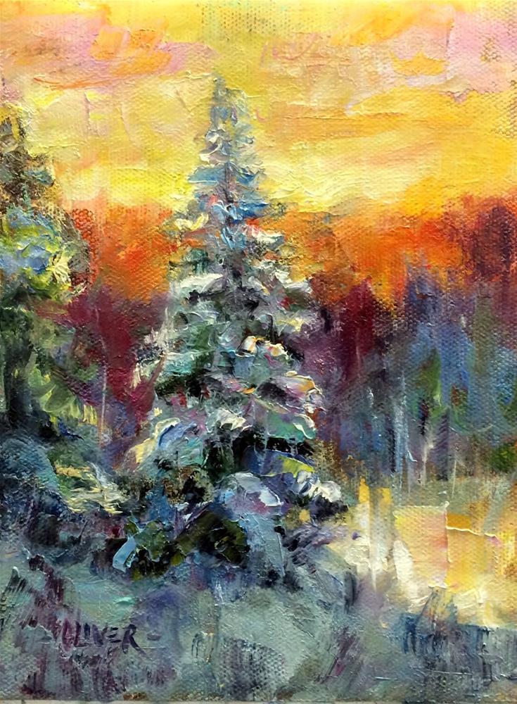 """Snowy Sunset - Day 8"" original fine art by Julie Ford Oliver"