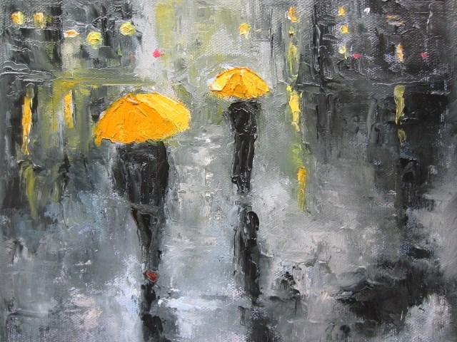 """Time for the umbrella (3)"" original fine art by Astrid Buchhammer"