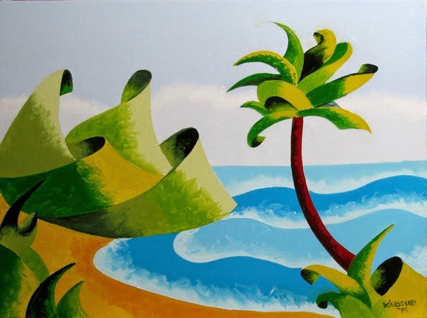 """Mark Webster - Abstract Geometric Island with Palm Tree Seascape Oil Painting"" original fine art by Mark Webster"