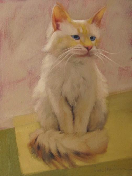 """Uncle Blue white cat painting"" original fine art by Diane Hoeptner"
