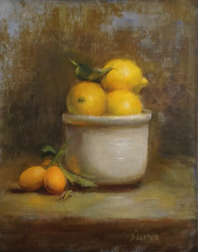 """Lemons in White Bowl"" original fine art by Susan Leider"