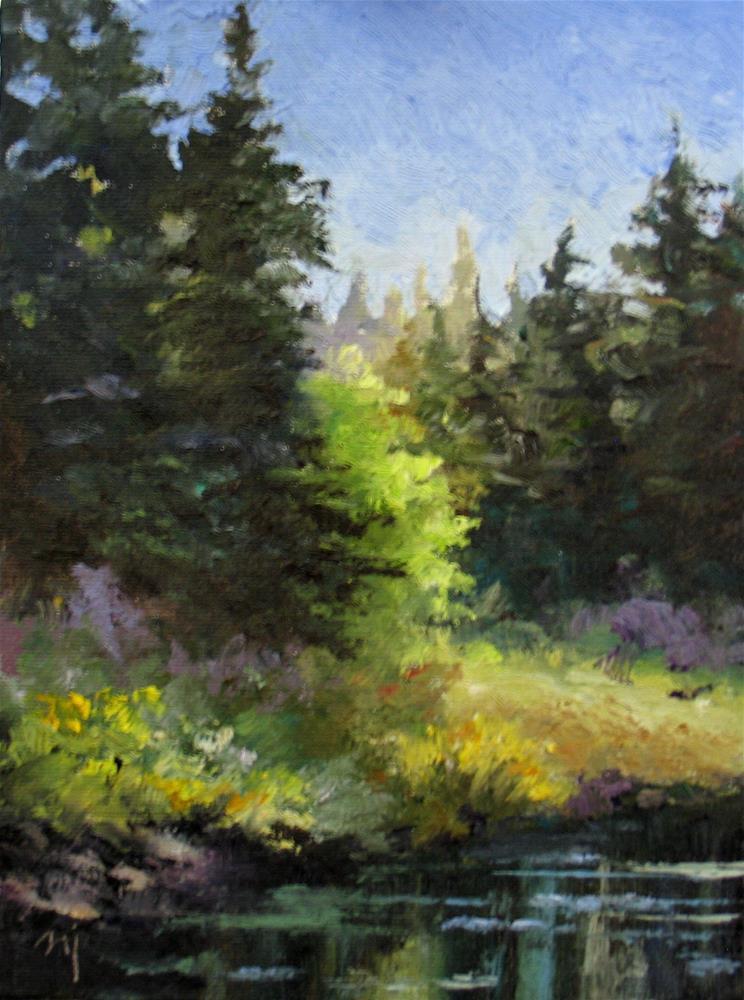 """Pines and Lake Sketch"" original fine art by Nel Jansen"