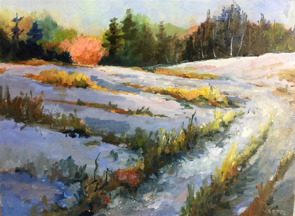 """original oil winter landscape snow painting"" original fine art by Alice Harpel"