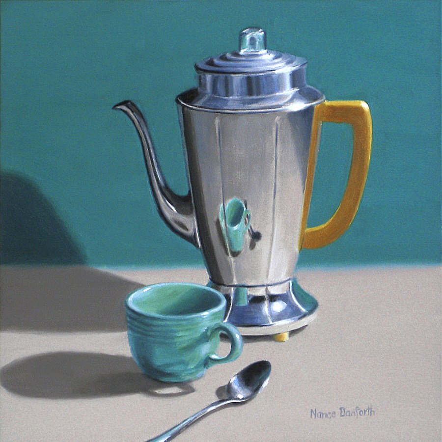 """Deco Coffeepot with Aqua Cup"" original fine art by Nance Danforth"