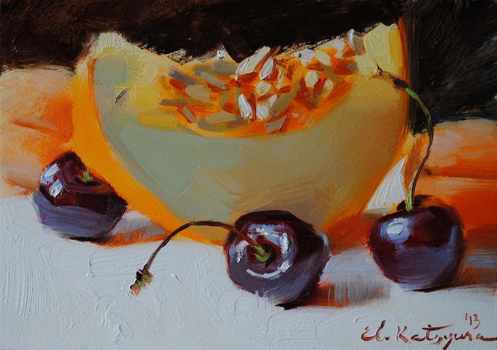 """Melon and Cherries"" original fine art by Elena Katsyura"