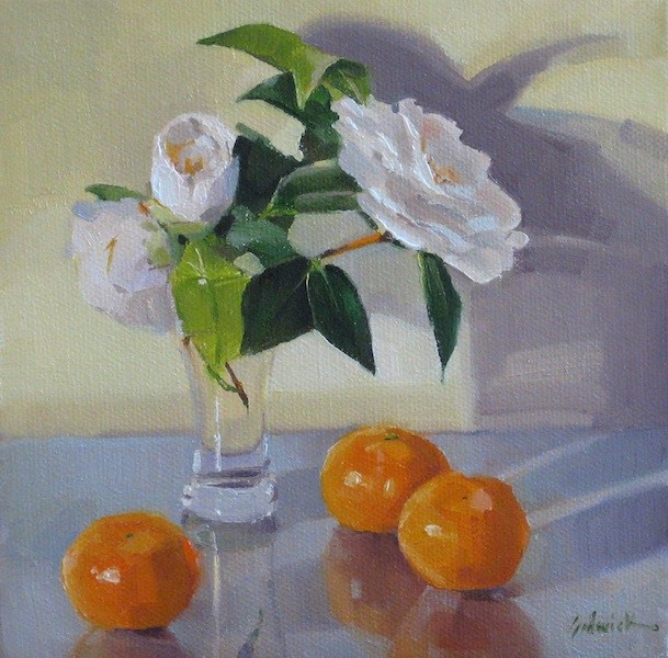 """Creamsicle fruit flowers floral painting still life orange and white daily painting"" original fine art by Sarah Sedwick"