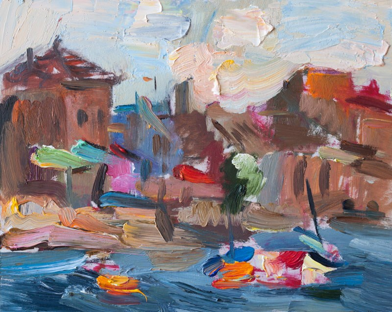 """""""Morning Seafront, White Clouds & Boats"""" original fine art by Anna Fine Art"""