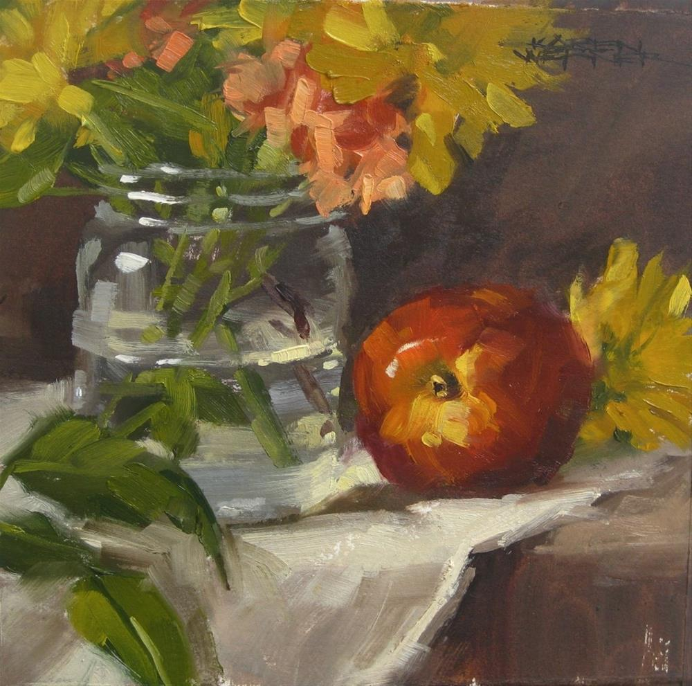 """Nectarine With Jar"" original fine art by Karen Werner"