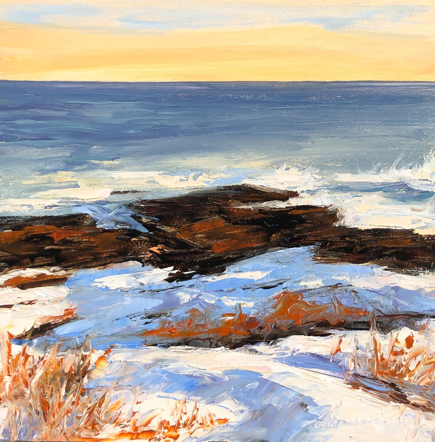 """#210 - Winter Sunset - Two Lights State Park, ME"" original fine art by Sara Gray"