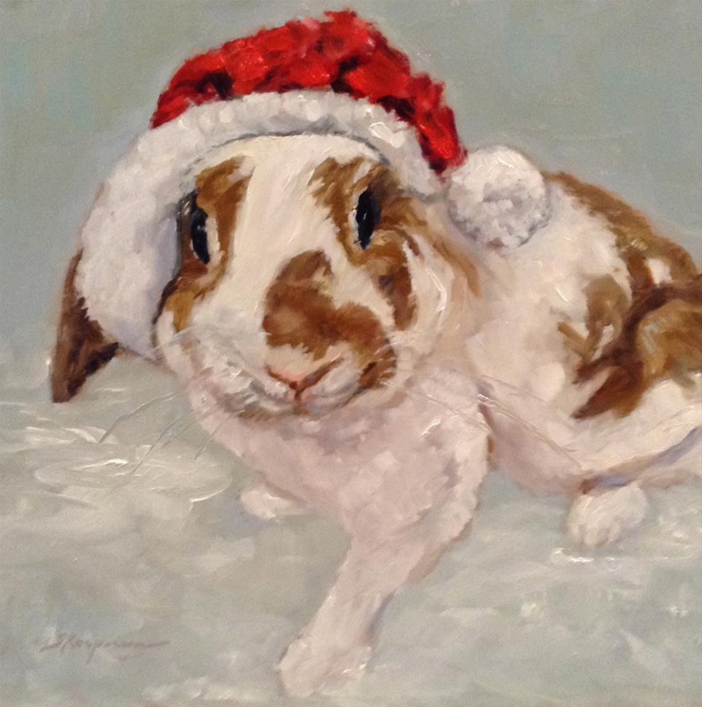 """Theodore the Christmas Rabbit"" original fine art by Shelley Koopmann"