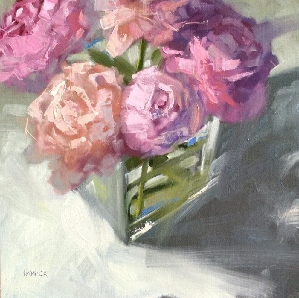 """Five Peonies  8in x 8in   oil"" original fine art by Claudia Hammer"