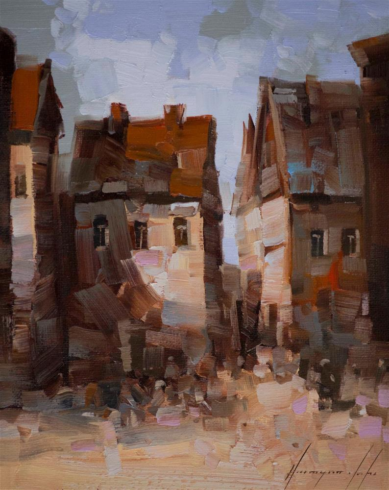 """""""Old Town Original Cityscape oil Painting on Canvas One of a kind"""" original fine art by V Y"""