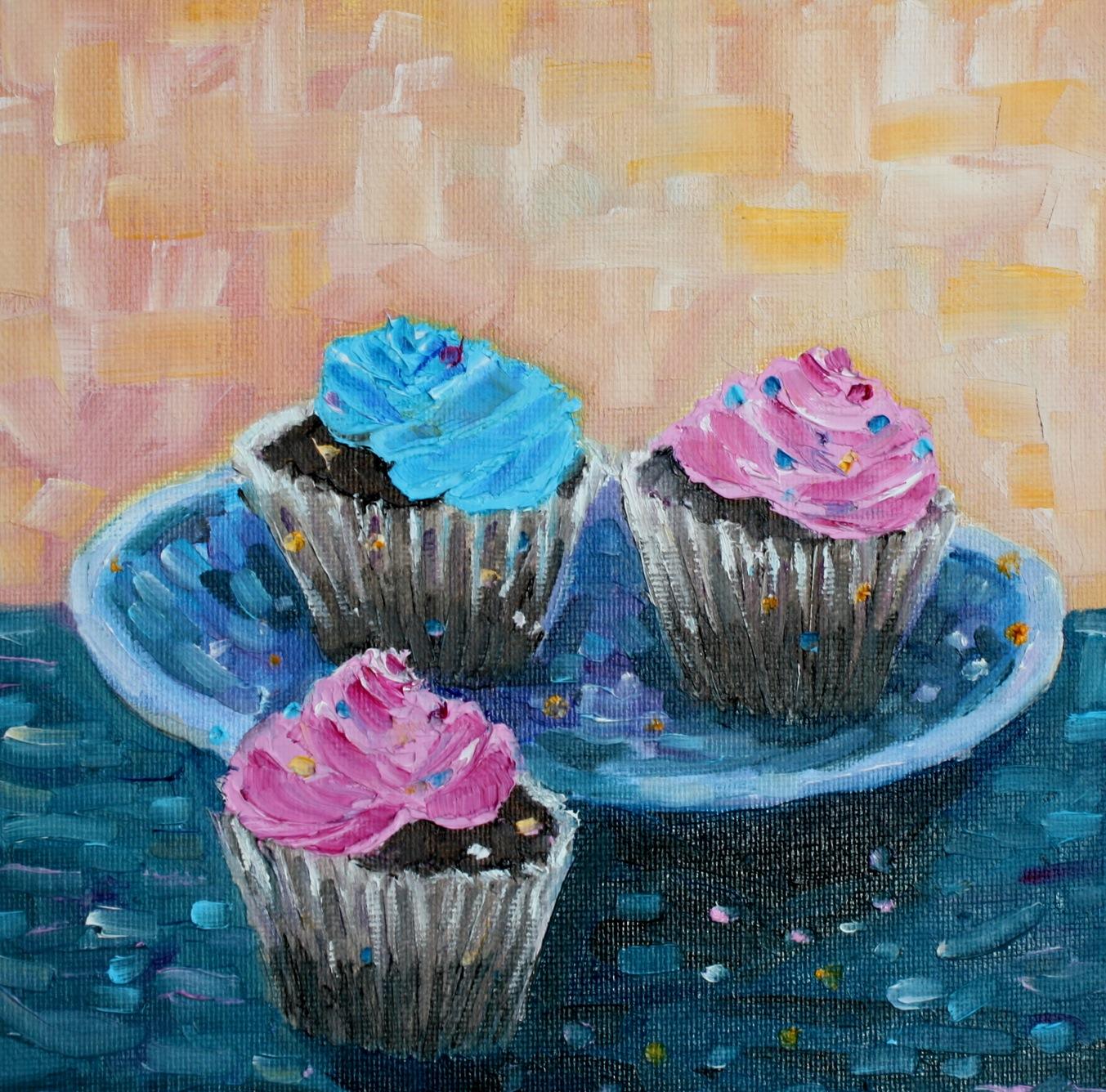 """Cupcakes"" original fine art by Maggie Flatley"
